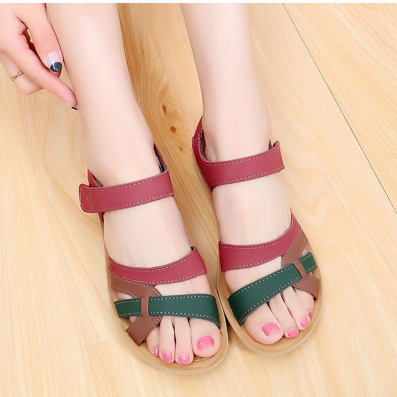 Women Plus Size Wedges Sandals Mixed Color Casual Platform Heel Sandals