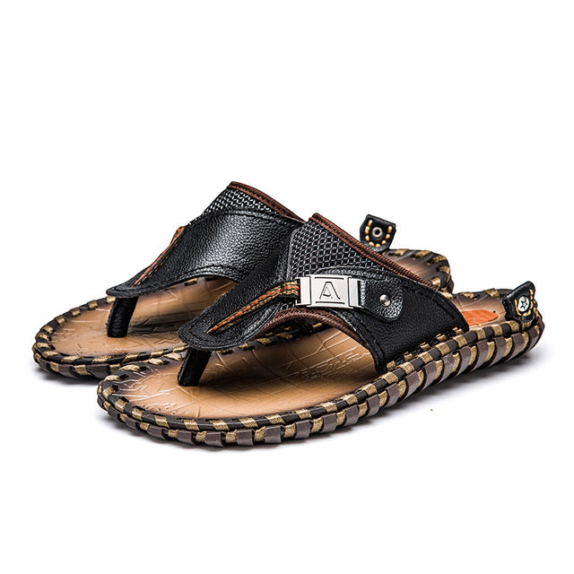 Men's Genuine Leather Sandals Flip Flops Breathable Slippers Plus Size