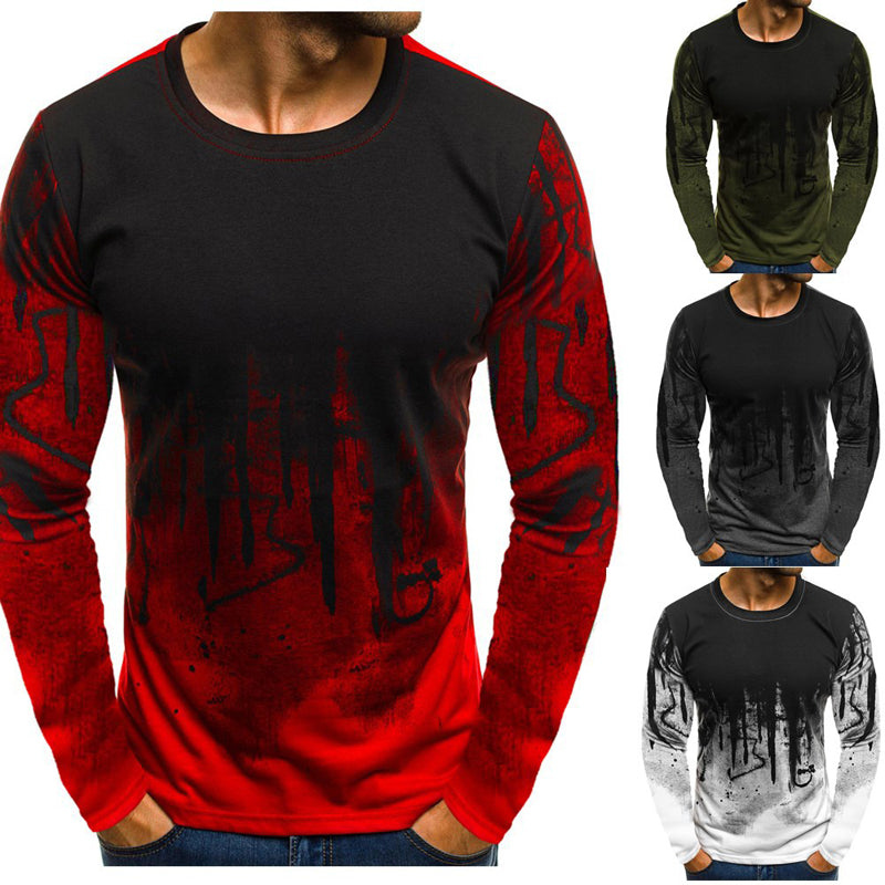 Men Printed Hiphop Streetwear Long Sleeve Fitness Tshirts