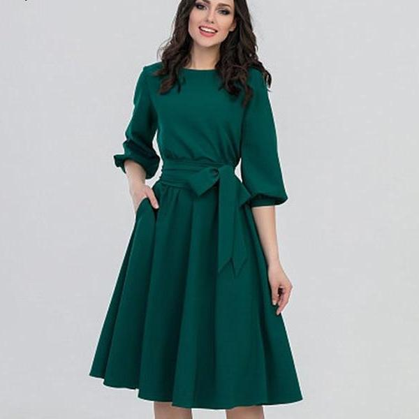 Corachic.com - Vintage Solid Lantern Sleeve A-Line Dress Women Elegant O-Neck Knee-Length Dress