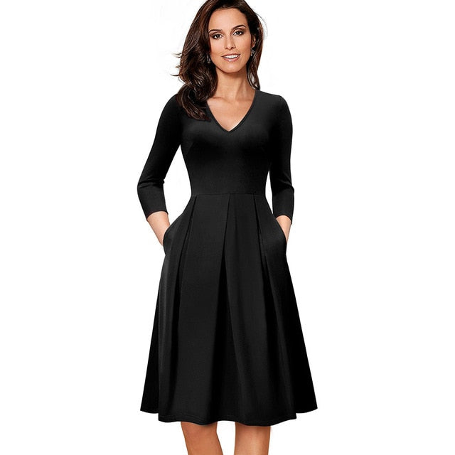 Vintage Solid Color V neckline Pinup Pockets A-Line Business Party Dress
