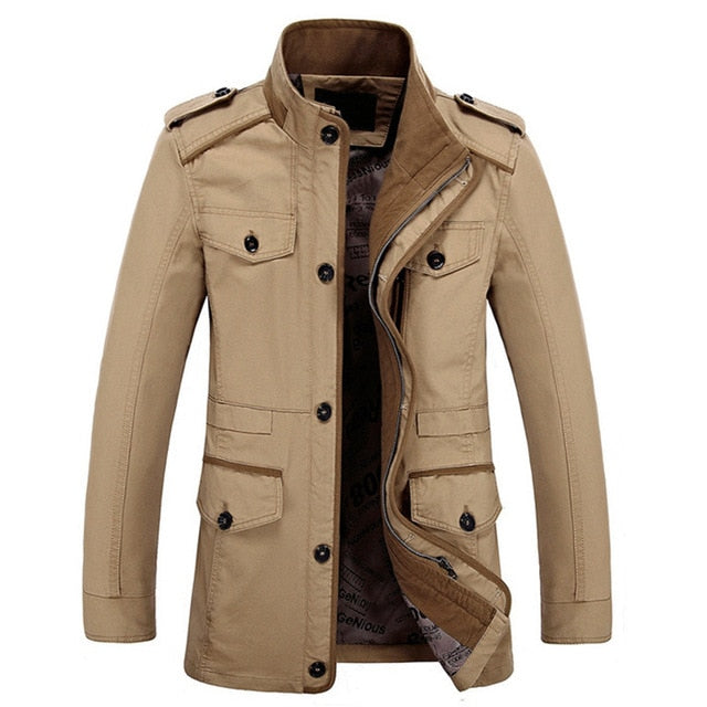 Mens Fashion Brand Casual Jacket Stand Collar Fat Slim Washed Cotton Long Jacket Coat Outwear