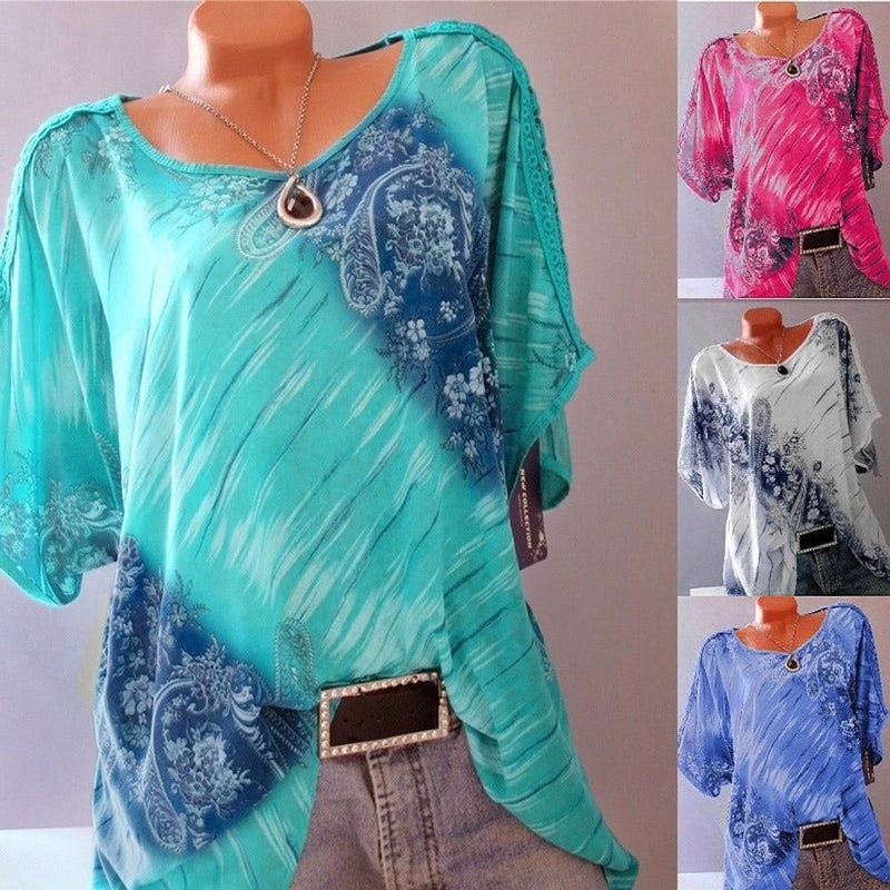 5XL Plus Size Women Summer Short Sleeve V Neck Floral Print Loose Blouses Tops