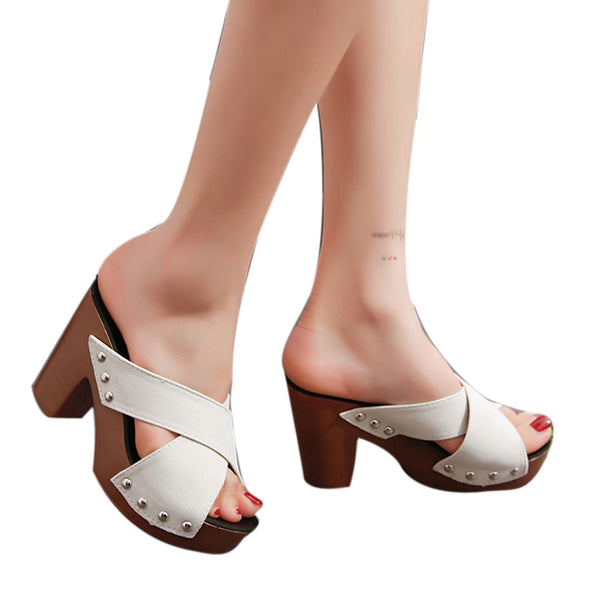 Women Cross Strap Chunky Heel Sandals Thick High-Heeled Flip Flop Open Toe Sandals
