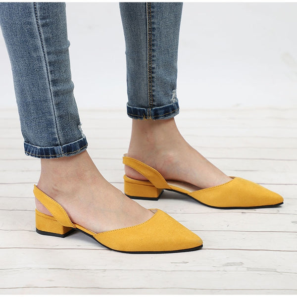 Women Slingback Sandals Flock Casual Footwear Pointed Toe Elegant Low Heels Sandals