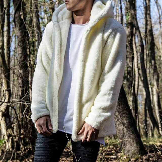 Windbreaker Jacket Warm Men Casual Loose Jacket Hooded Cardigan Pure Color Outwear Double-Sided Plush Coat