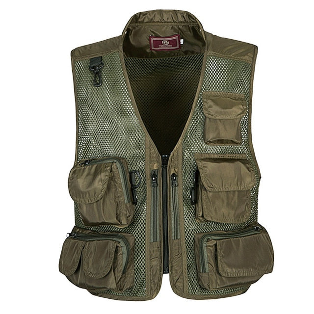 Mens Camo Photographer Collarless Vests Multi Pockets Male Jacket Sleeveless Protection Camouflage Waistcoat