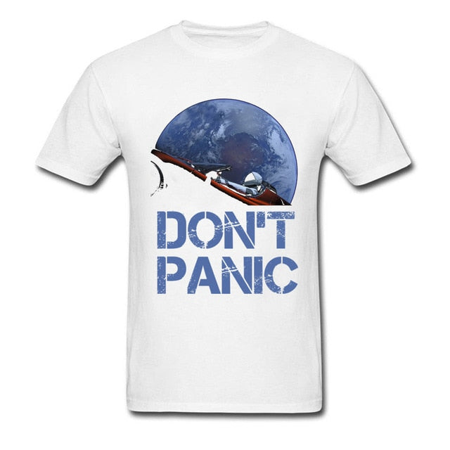 Don't Panic Novelty Occupy Earth Starman T-shirt 100% Cotton Summer Tops Tee