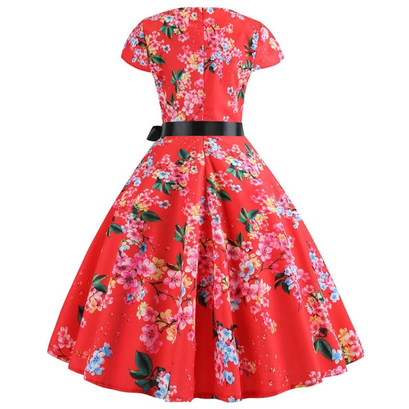 Women Vintage Summer Floral Print Short Sleeve Party Dresses