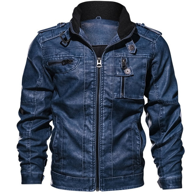 Men's PU Jacket Leather Coat Slim Fit Faux Leather Motorcycle Jackets Coats