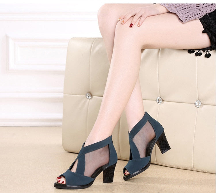 Large Size 35-41 Mesh T-Strap Pumps Woman Peep Toe High Square Heel Sandals
