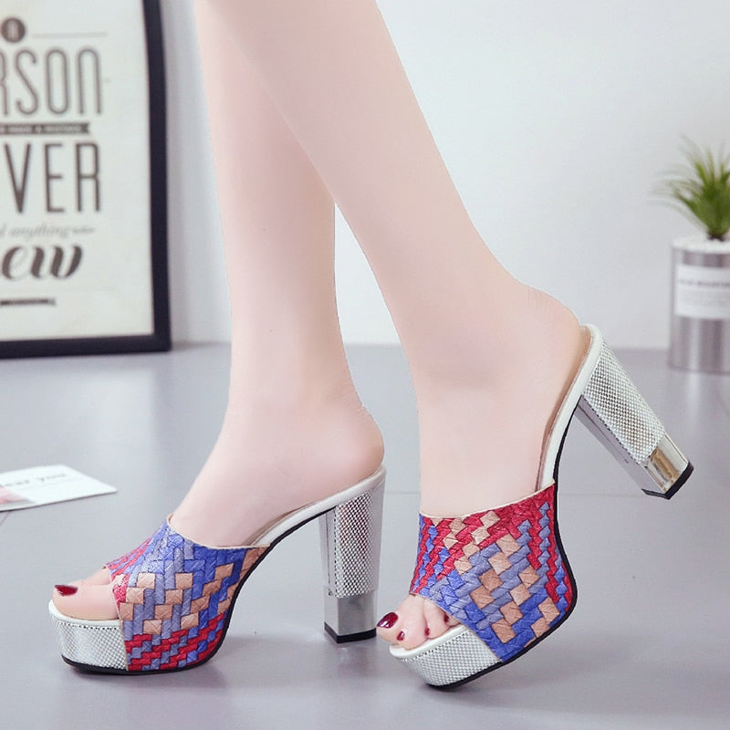 Women Summer Super Square High Heels Peep Toe Party Shoes Platform Sandals
