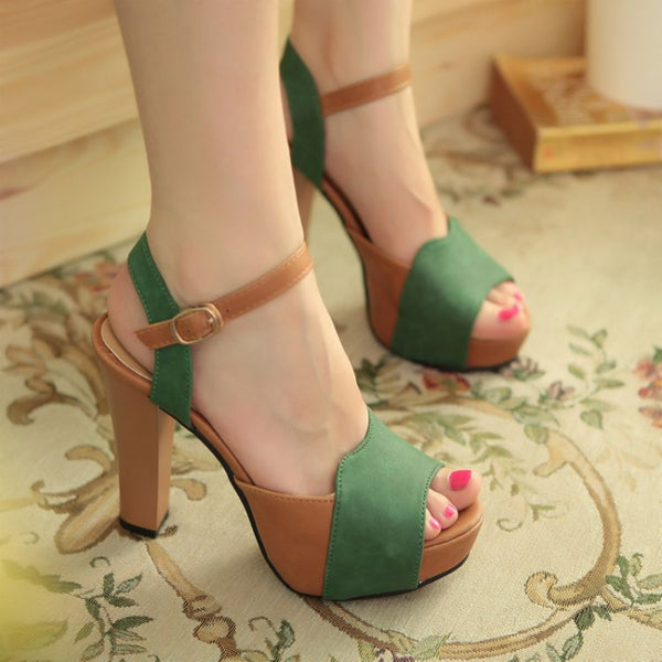 Women High Heel Sandals Thick Platform Fish Mouth Sandals Shoes