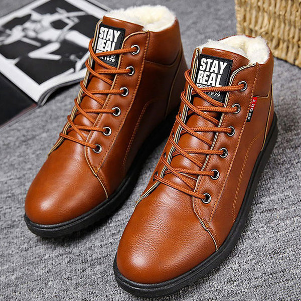 Men's Winter Boots Waterproof Short Plush Solid Fashion Ankle Boots Round Toe Wear-resistant Male Boot