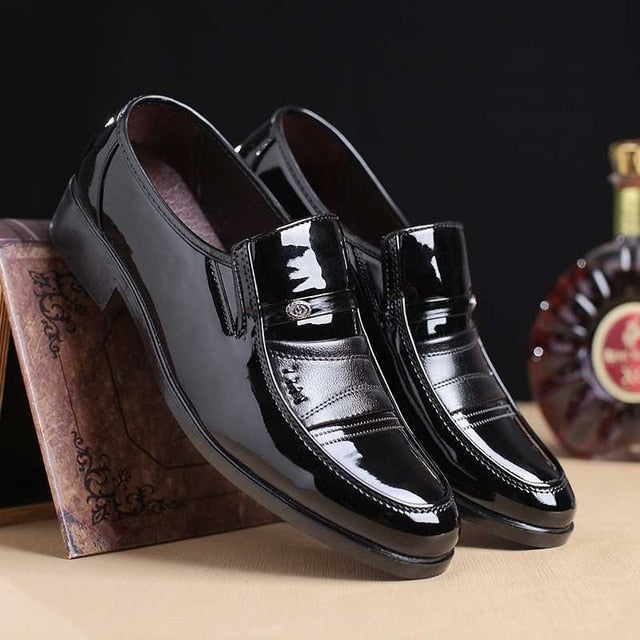 Men Leather Slip On Shoes Round Toe Footwear Office Work Shoes