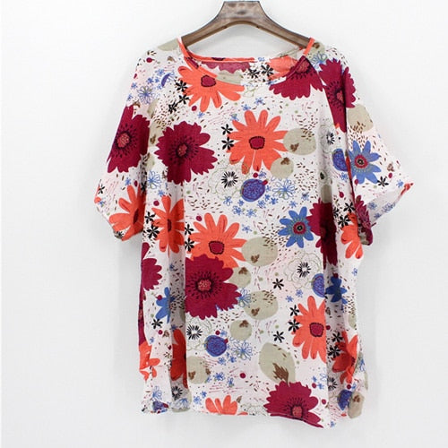 Corachic.com - 4XL Plus Size Women Batwing Casual Tops Tees Floral Print Cotton Linen Blouses - Blouse & Tops