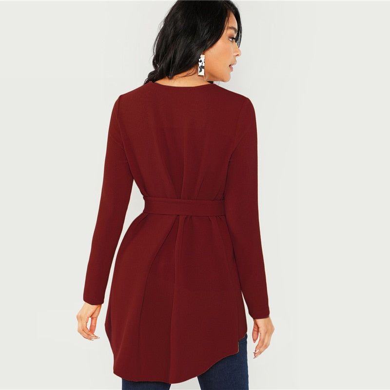 Burgundy Long Sleeve Blouse Elegant Self Belted Asymmetrical Hem Tops Blouses