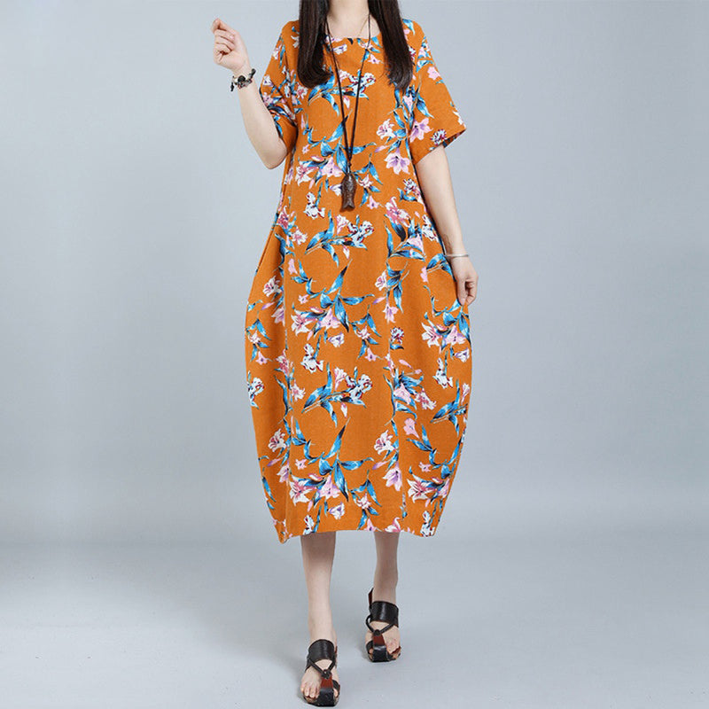 Women Vintage Cotton Loose Dress Floral Printed O-Neck Short Sleeve Pockets Casual Dresses