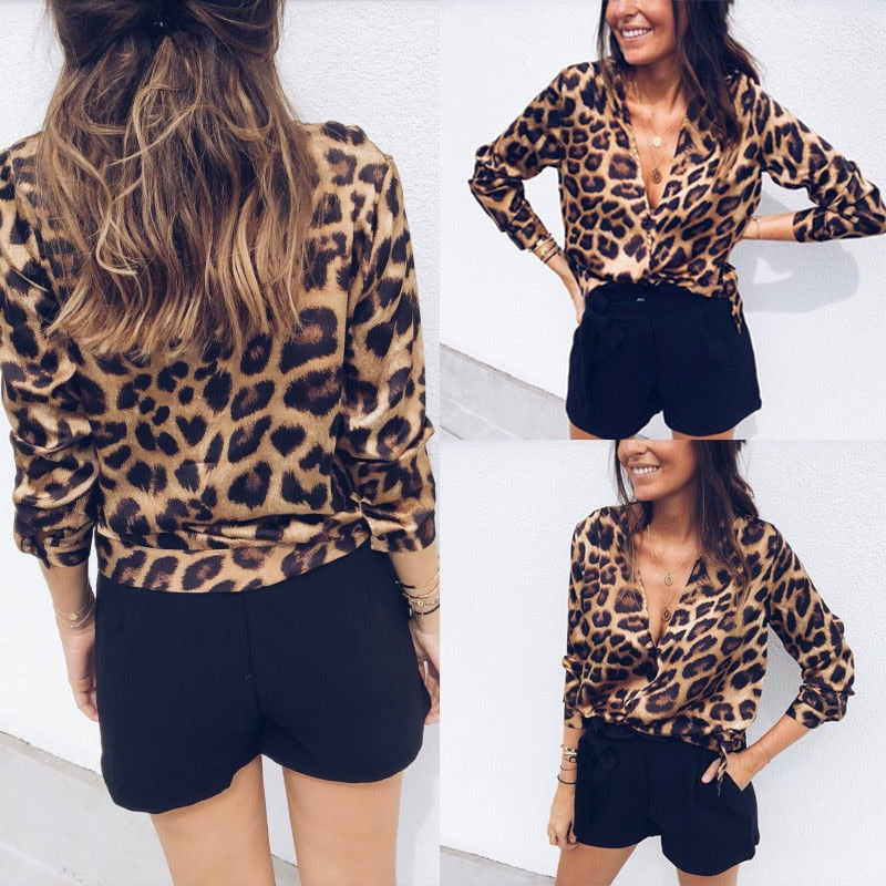 Womens Leopard V Neck Elegant Tops Low-cut Long Sleeve Blouse