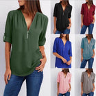 Zipper Short Sleeve Women Shirts Sexy V Neck Solid Casual Tee Shirts Tops Blouses Plus Size