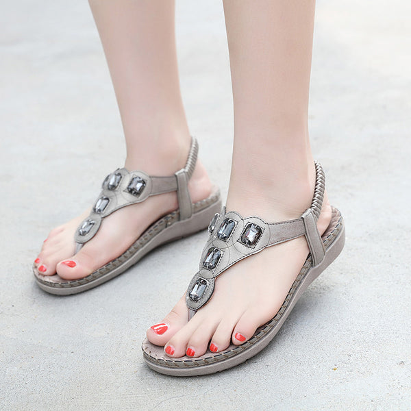 Women Plus Size Crystal Sandal Shoes Summer Footwear Beach Flip Flops Shoes