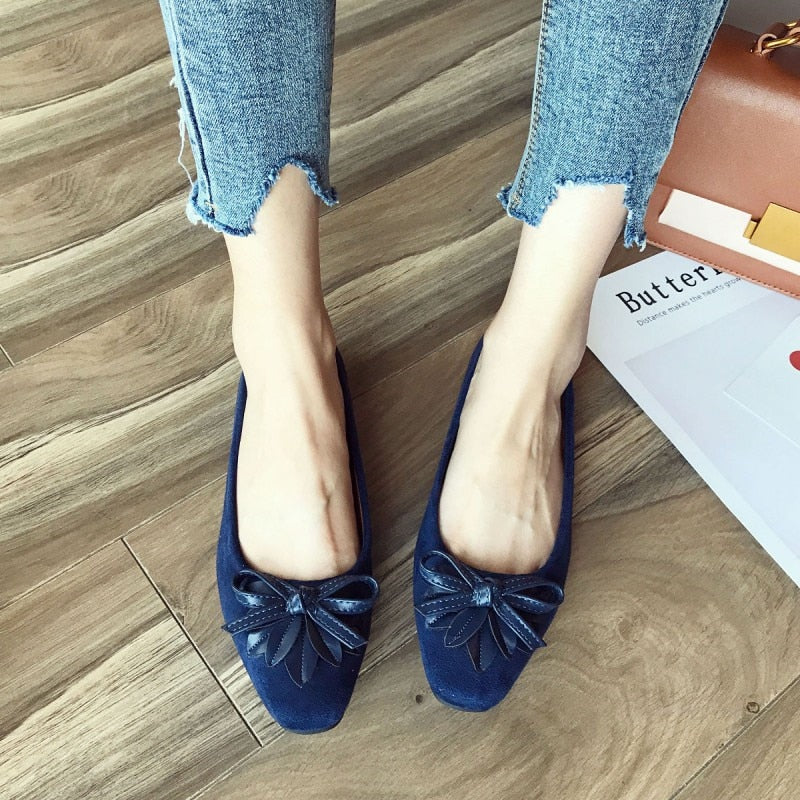 Women Ballet Flats Slip-On Bowtie Work Flats Shoes