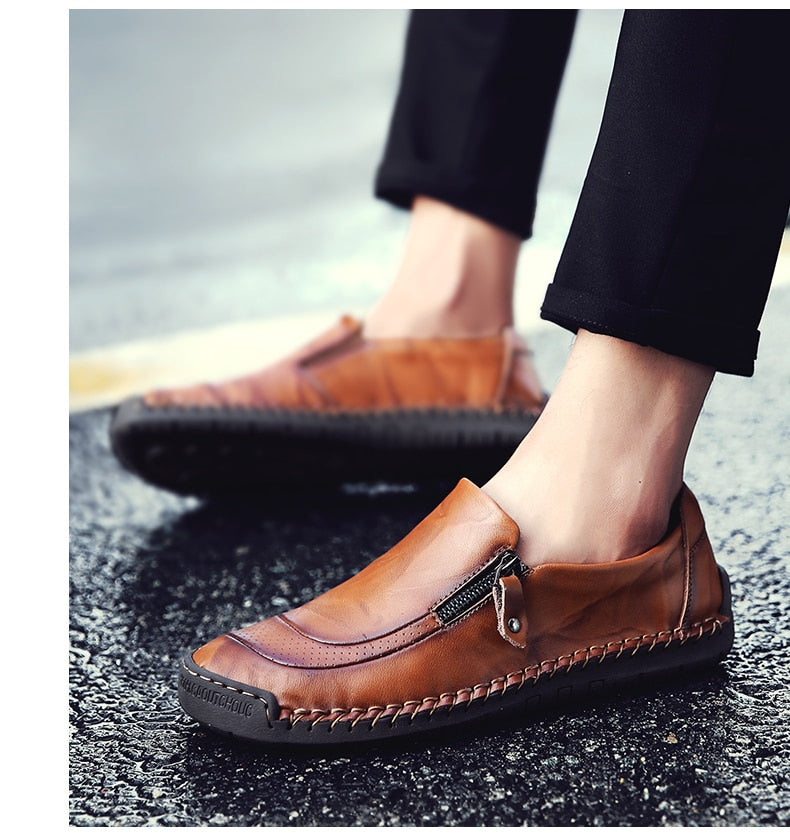 Men's Comfortable Casual Loafers Split Leather Flats Moccasins Shoes