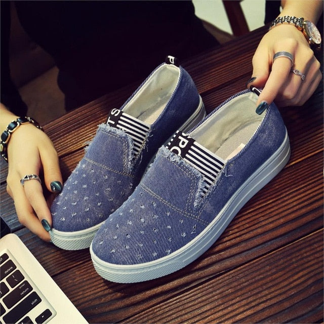 Women Denim Flats Casual Jeans Shoes Soft Flats Shoes