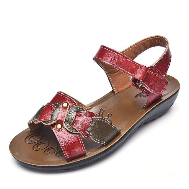 Women Mother Genuine Leather Sandals Wedge Platform Beach Sandal Shoes