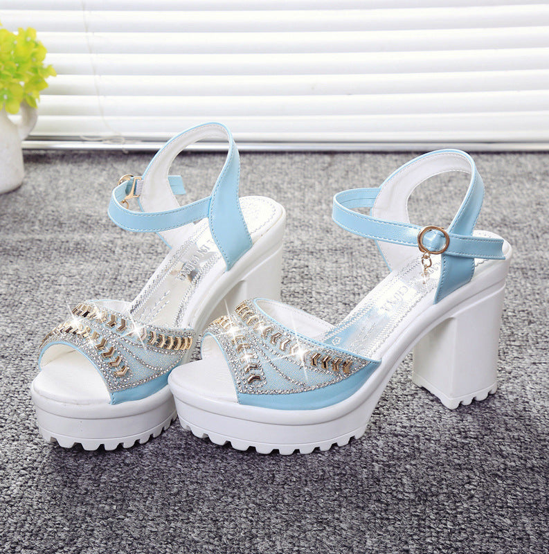 Women Square High Heel Sandals Diamond Fish Mouth Thick Bottom Sandal Shoes