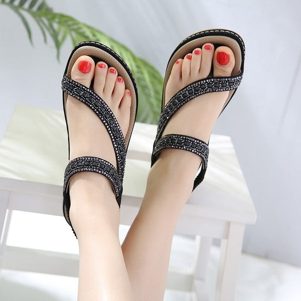 Women Flat Sandals Shoes Bohemia Flip Flop Crystal Casual Beach Sandals