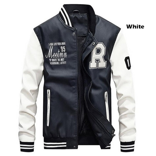Men Baseball Jacket Embroidered Leather Pu Coats Slim Fit College Fleece Luxury Pilot Jackets