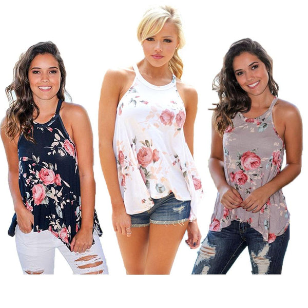 Women Sleeveless Printed Loose Tops Plus Size Off Shoulder Knitted Tops