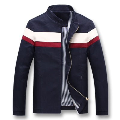 Men Spring Patchwork Casual Fashion Slim Fitted Zipper Coat Jackets
