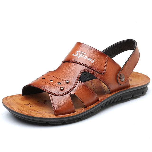 Big Size Men's Genuine Leather Sandals Non-Slip Slippers Flats Beach Shoes