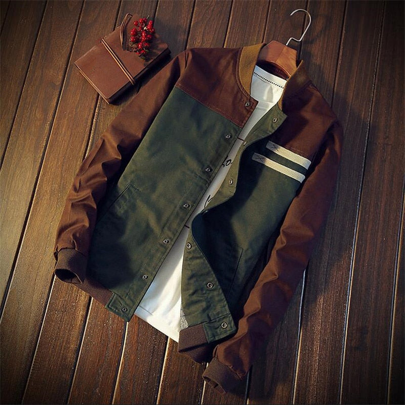 Men Casual Autumn Stand Jacket Cotton Outwear Patchwork Man Coat Size M-3XL
