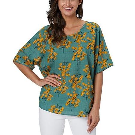 Womens Plus Size Short Sleeve Tops Floral Print Casual 100% Cotton Blouses