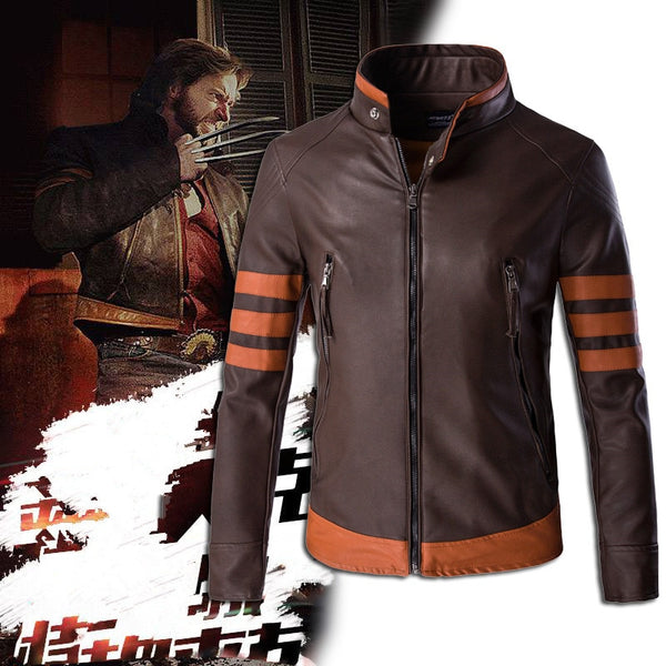 Mens High-end Wolverin PU Leather Motorcycle Leather Logans Bomber Jacket Casual Outwearr