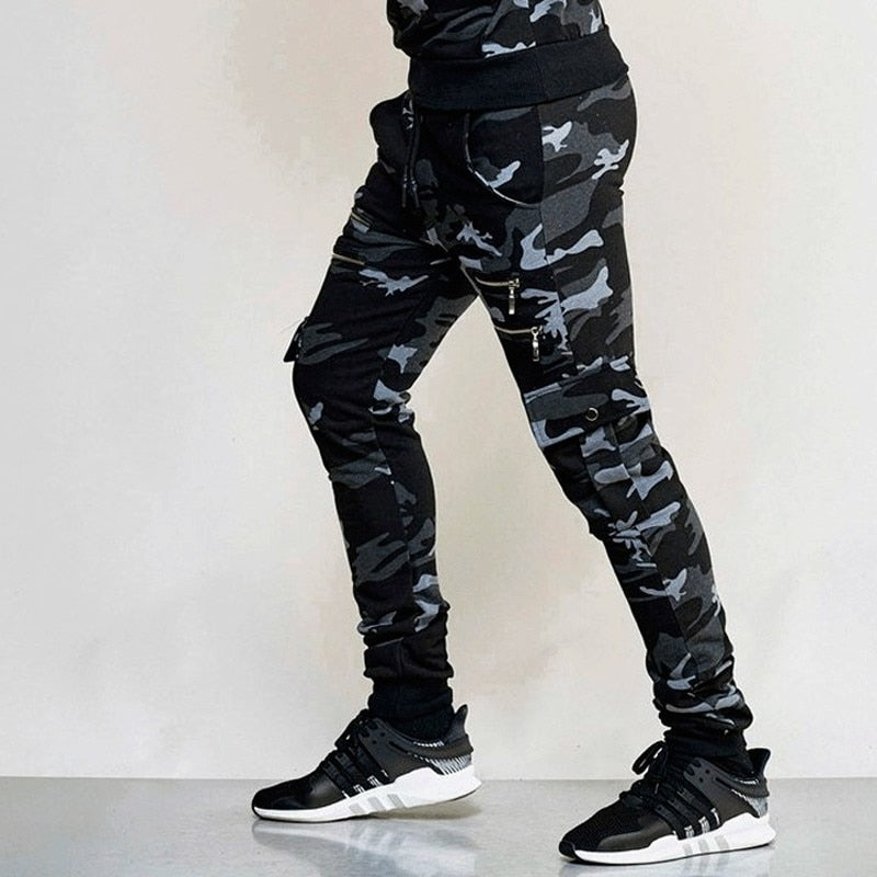 Men's Zipper Camouflage Jogger Pants Casual Bodybuilding Fitness Trousers Sweatpants