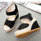 Women Summer Lace Hollow Gladiator Wedges Slides Peep Toe Hook & Loop Sandals