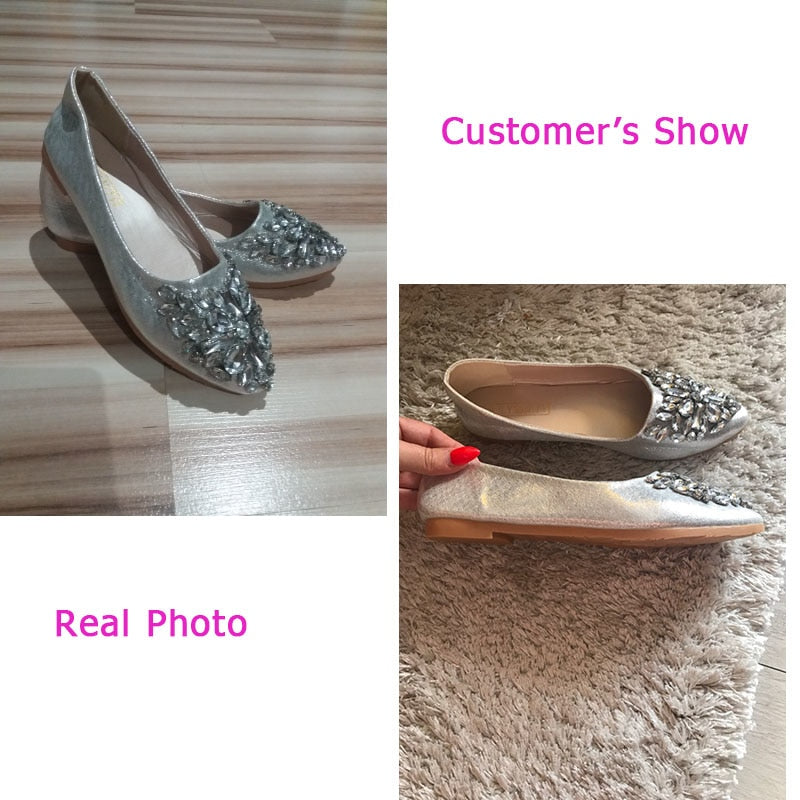 Corachic.com - Women Leisure Pointy Ballerina Bling Rhinestone Flats Princess Shiny Crystal Shoes - Women's Flats