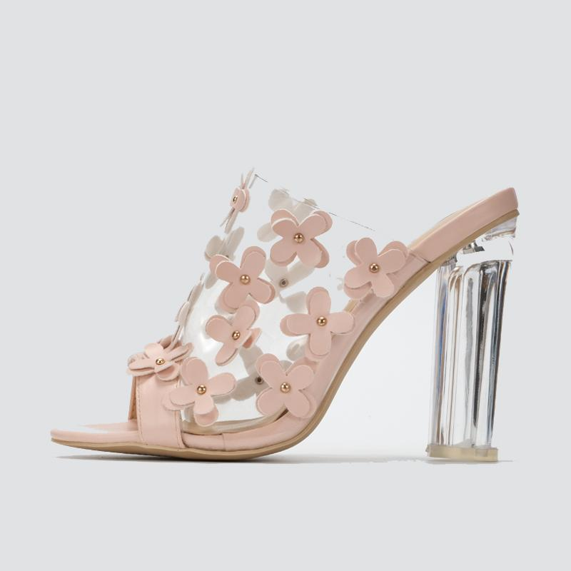 Women Transparent High Heel Sandals With Small Flower Open Toe Summer Sandals