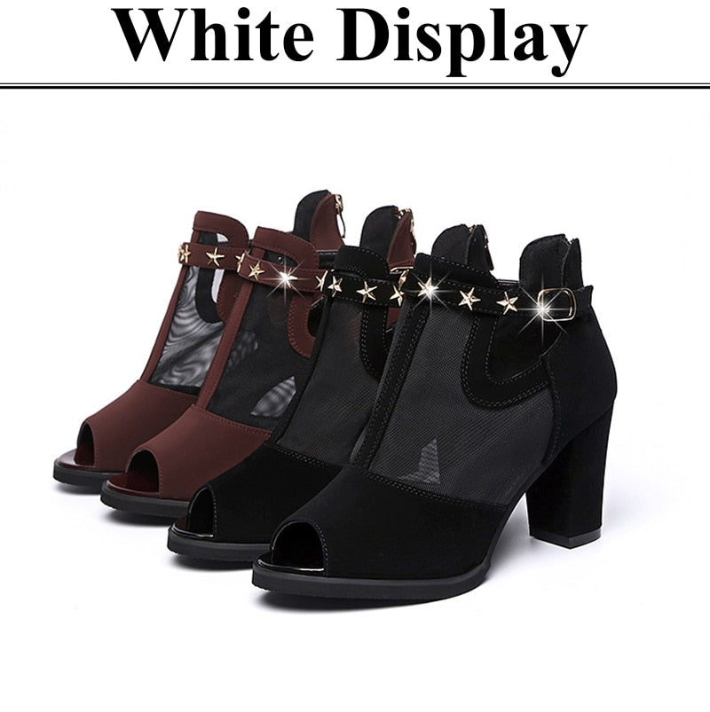 Women Square High Heel Sandals Pumps Rivet Mesh Zipper Open Toe Sandal Shoes