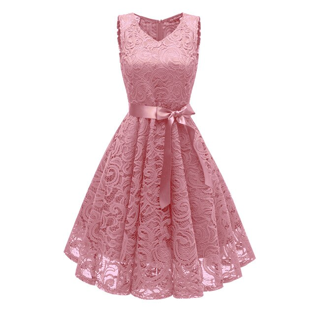 Women Lace Dress V-Neck Belt Sweet Princess Party Dresses