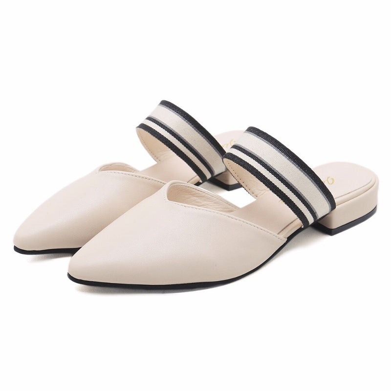 Solid Women Slides Pointed Toe Sandals Square Heels Slipper Mules Shoes