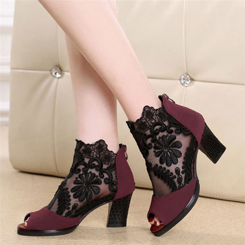 Women Square High Heel Sandals Flower Lace Hollow Peep toe Gladiator Sandals