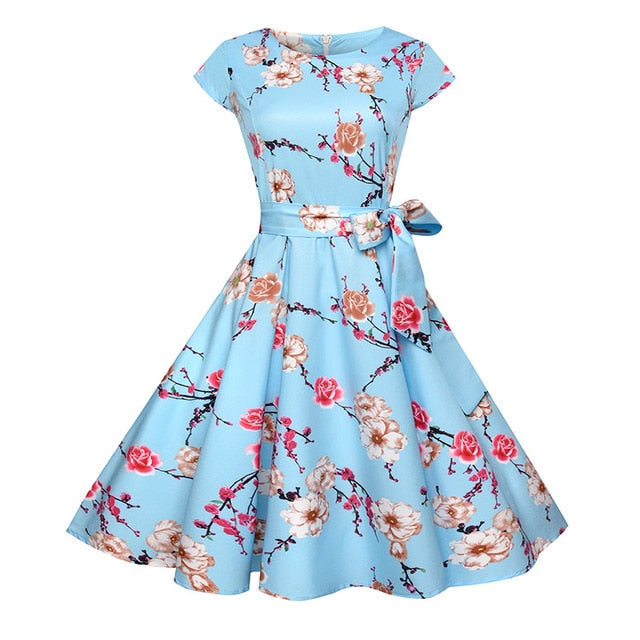 Women Summer Floral Dress Vintage Casual Elegant Print O Neck Party Dresses