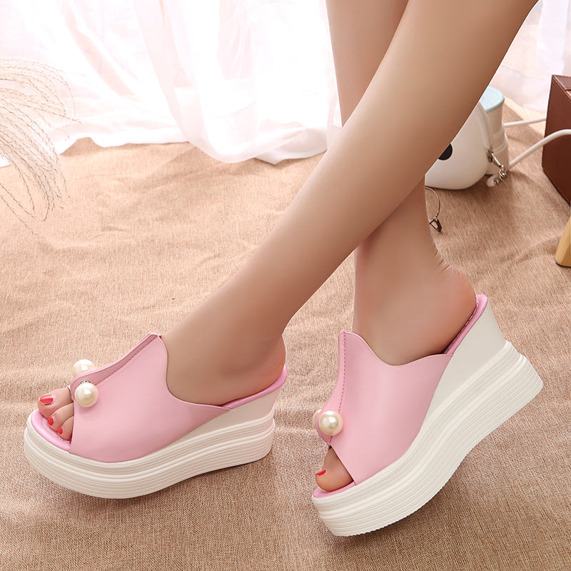 Women Summer Sandals Slippers Beach Shoes String Beads Platform Sandals