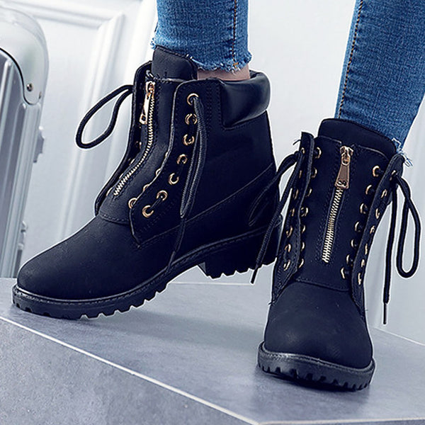 Fashion women boots Leather shoes Work Ankle boots for women Adult Cross-tied Female Safety boots size