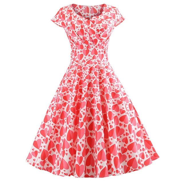 Women Short Sleeve Vintage Elegant Swing Party Summer Dresses